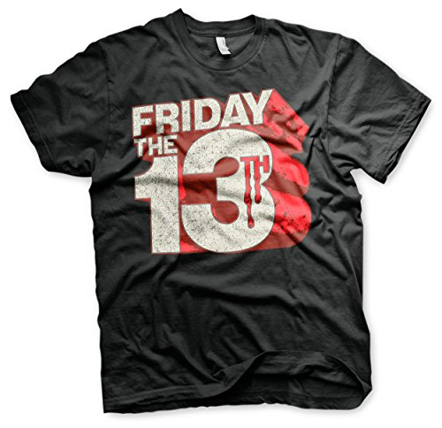 Officially Licensed Merchandise Friday The 13th Block Logo T-Shirt (Black), Large