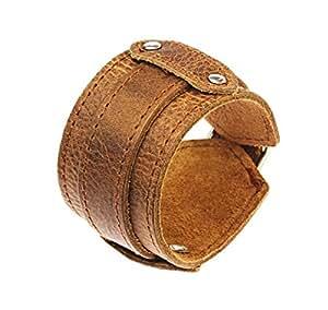 Dark Brown Leather Strap Cuff Wrap Around Gothic Wristband Bracelet With Buckle Fastening - 56