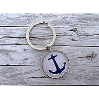 Schlüsselanhänger mit Anker in blau