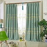 A-Curtain Zwei Paneele gestickte Leinenvorhänge, W57*L84