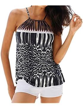 QinMM Camiseta Sin Mangas de La Playa del Halter del Verano del Leopardo de La Mujer, Tops Camisa Casual