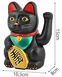 Iso Trade Winkekatze Glückskatze Maneki Neko Glücksbringer Gold o. Schwarz Feng-Shui #3064, Farbe:Schwarz