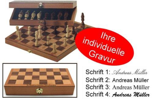 Ahorn Natur Gebeizt (Schach Kassette STANDARD Schachspiel mit Gravur, Geschenk - Idee)