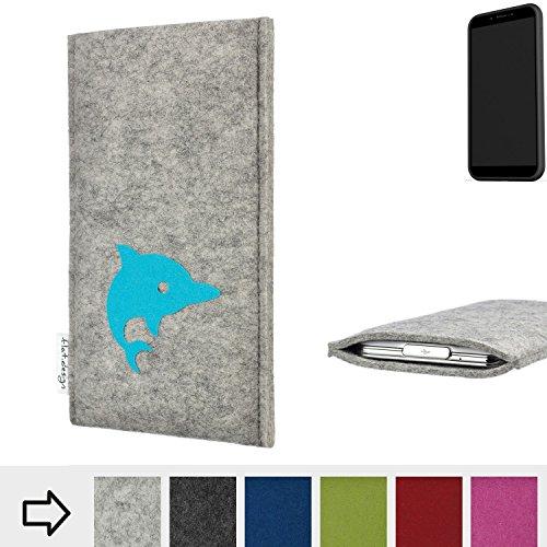 flat.design Handy Hülle für Shift Shift6mq FARO mit Delphin handgefertigte Filz Tasche fair