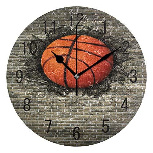 Domoko Home Decor 3D Stilvolle Basketball eingebettet in Brick Wand Acryl, Rund Wanduhr Geräuschlos Silent Uhr Kunst für Wohnzimmer Küche Schlafzimmer