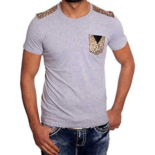 John K Herren Kurzarm Leopard Muster T-Shirts Poloshirt Hemd Shirt JP-1031 Hemd Grau