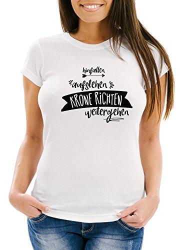 Damen T-Shirt mit Spruch, Hinfallen aufstehen Krone richten weitergehen, tailliert Slim Fitaus Baumwolle Moonworks® Weiß