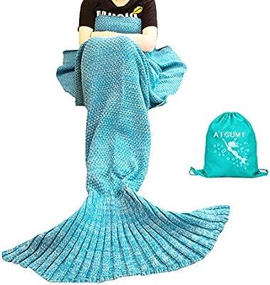 Manta sirena, AIGUMI All Seasons cola de la sirena manta para dormir, ganchillo artesanía caliente cama Sala de techo para los niños