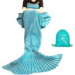 Manta sirena, AIGUMI All Seasons cola de la sirena manta para dormir, ganchillo artesanía caliente cama Sala de techo para los niños (azul)