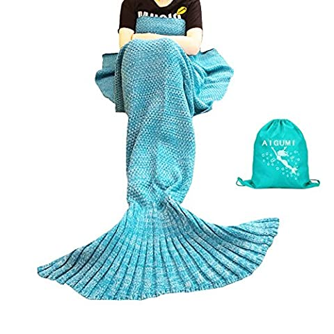 Mermaid Blanket, AIGUMI All Seasons Mermaid Blanket Tail Sleeping, crochet Artisanat Hot Lit Vivre Plafond Chambre pour les enfants (Bleu)