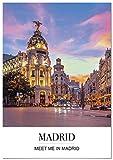 Panorama® Poster Stadt von Madrid mit Phrase 70 x 100 cm |