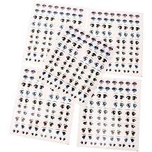 Gazechimp 5 Juegos de Pegatinas Lindos de Ojos Adhesivos de Agua Accesorio de Bricolaje para Dibujo