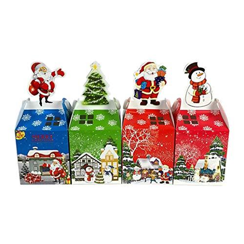 Makwes 50 Stück Weihnachts Dekoration Heiligabend Apple Verpackung Box Cartoon Weihnachten Geschenkbox Verpackung Packmaterialien Geschenkverpackungen Geschenktaschen Zufällige Musterfarbe