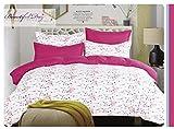 DecoKing 99438 135x200 cm Bettwäsche Kinderbettwäsche mit 1 Kissenbezug 80x80 Bettwäscheset Bettbezüge Microfaser Bettwäschegarnituren Reißverschluss Basic Collection Owly weiß rosa Amarant