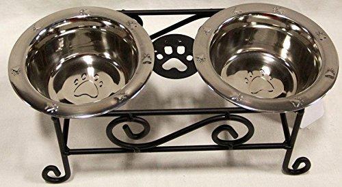 Hand Crafted & American Made! Schmiedeeisen Kleine Hunde Futterstation erhöhter Scroll mit Fressnäpfe aus Edelstahl Inklusive-Hand Hergestellt von amischen von Lancaster County ( -