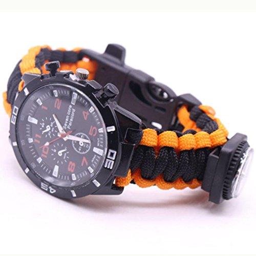HCFKJ Outdoor Survival Watch Armband Paracord Kompass Flint Fire Starter Whistle (B) -