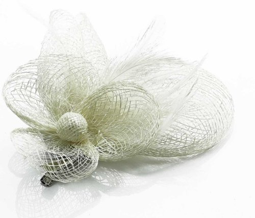 Elfenbein Weiß Miniature Mesh Blume Feder Haar Fascinator with PreciousBags Dust Bag