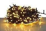 LED Lichterkette mit 500 LEDs - LED: warmweiß/Kabel: grün - für den Innen- und Außenbereich - Weihnachtsbaum Lichterkette (500 LED - 50m)