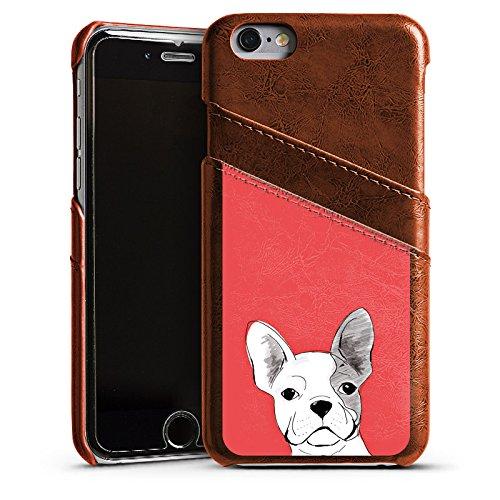 Apple iPhone 5s Housse Étui Protection Coque Bouledogue français Chien Chien Étui en cuir marron