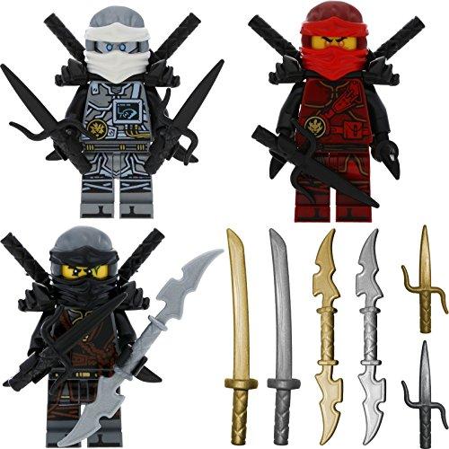 LEGO Ninjago 3er Figurenset Ultimate 17 - Hands of Time Zane Kai Cole mit 11 GALAXYARMS Waffen Schwerter + 6 Bonus Schwerter (Lego Ninjago Minifigur Zane)