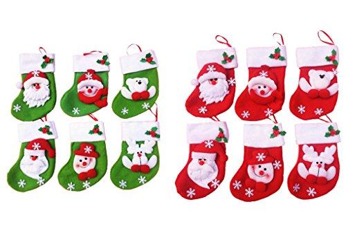 LAAT Bas de Noël Chaussettes Père Noël Sac Christmas Decoration 12pcs