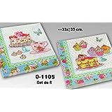 DonRegaloWeb - Set de 6 paquetes de 20 servilletas de papel de triple capa decoradas con motivos pasteleros con multiples colores