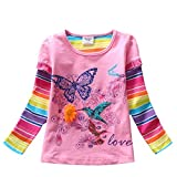 VIKITA Mädchen Baumwolle Langarm T-Shirt Top G61802PINK 3T