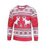 friendGG❤️❤️ Herren Herbst Winter Weihnachtspullover Rundhals Langarmshirt mit Weihnachtsmotiv Druck Sweatshirt,Herren Herbst Winter Weihnachten Druck Top Herren Langarm T-Shirt Bluse