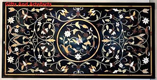 Inlay-top-couchtisch (121,9x 61cm schwarz Marmor Terrasse Couchtisch Top Inlay Multi Color Floral Design)