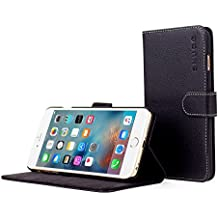 Snugg iPhone 6 Plus Case, Black Leather iPhone 6 Plus Flip Case [Lifetime Guarantee] Premium Wallet Phone Cover with Card Slots for Apple iPhone 6 Plus
