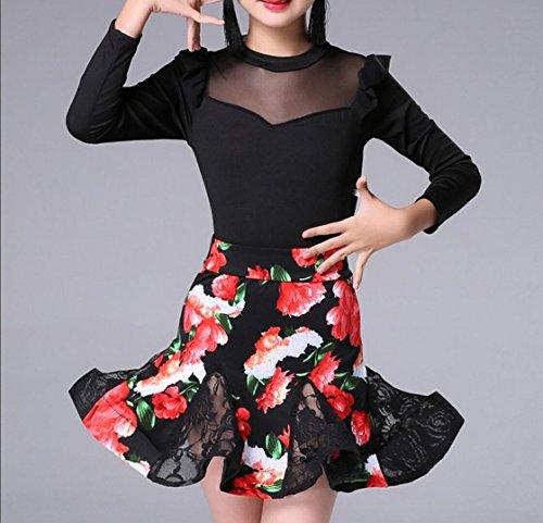 öcke langärmeligen Gold Samt Herbst und Winter Mädchen Kleidung üben Anzüge und Quasten zeigen Kostüme Tanz Kleidung Wettbewerb , 1 , 130cm (Gold Tanz Kostüm)