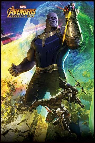 Close Up Avengers Infinity War Poster Thanos (93x62 cm) gerahmt in: Rahmen Schwarz