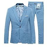 Cloudstyle Slim Fit Schnitt Gestreift Muster Herrenanzug einreiher Anzug Hochzeit Party (Large, blau)