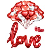 MMTX 34 Pack Foil Helium Red Heart Balloons Set 18 inch Balloons for Valentines Day Wedding Bridal Shower Anniversary and Engagement Decoration.