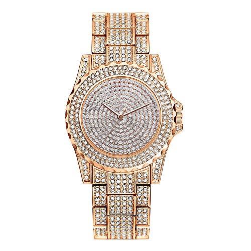 Tianzhiyi Uhrendekoration Damen Kristall Quarz Uhren Damenarmbanduhr Runden Zifferblatt Fall Glänzende Armbanduhr Moderne Mode Strass Keramik Uhren Valentinstag Geburtstag