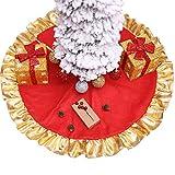 Siennaa Weihnachtsbaum Decke, Weihnachtsbaum Rock Dekoration Goldener Rand Weihnachtsbaumdecke Rund Weihnachtsbaum Röcke Weihnachtsschmuck Weihnachtsbaum Deko Weihnachtsdeko (Gold#90cm)
