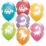 Dinosaur Party - Cinco globos de látex Qualatex con dinosaurios dibujados