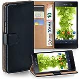 moex Sony Xperia M5 | Hülle Schwarz mit Karten-Fach 360° Book Klapp-Hülle Handytasche Kunst-Leder Handyhülle für Sony Xperia M5 Case Flip Cover Schutzhülle Tasche