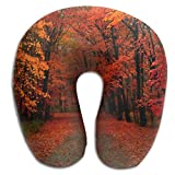 zengjiansm Nackenhörnchen Neck Pillow Autumn Maple Travel U-Shaped Pillow Soft Memory Neck Support for Train Airplane Sleeping Seitenschläferkissen