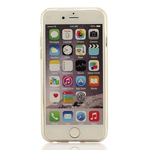 Apple iPhone 6 6S Hülle, Flexibel Transparent Flowable Bunt Pulver / Sanduhr Entwurf Flüssigkeit Schutzhülle iPhone 6 6S Hülle Case 4.7 inch + Silikon Halter - Blau rot