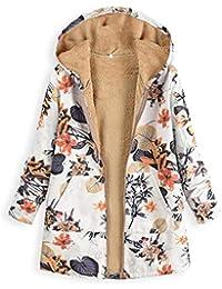 zzqyis Mujer Tallas Grandes Invierno Cálido Espesar Abrigo de Gran Tamaño Manga Larga Vintage Estampado Floral