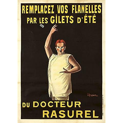 Vintage abiti e accessori Docteur Rasurel ricambio flanella Gilet Estate C1906by Leonetto Cappiello 250gsm Lucido Art poster A3di riproduzione