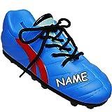 Unbekannt 2 Stück _ 3D Effekt - Spardosen - inkl. Name - Fußballschuh / Sportschuh - Schuh - mit echten Schnürsenkel ! - blau - rot - stabile Sparbüchse aus Porzellan /..