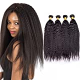 Maxine Kinky Straight Yaki 3 Pieces Hair Extensions Weave 3 Bundles Natrual Black Color Unprocessed 9a Grade Human Hair 16 16 16