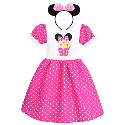 IWEMEK Baby Mädchen Polka Dot Prinzessin Minnie Kostüm A-Line Kleid Geburtstag Halloween Weihnachten Karneval Cosplay Kleid mit Maus Ohren Bowknot Partykleid Outfits Heißes Rosa 8-9 Jahre
