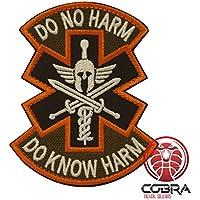 Cobra Tactical Solutions Do No Harm * Do Know Harm Motivational Parche Militar de motivación Naranja con Cinta adherente para la Bandera de Airsoft