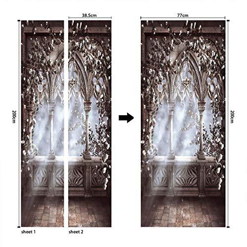 fenjinsheng Europäischen Stil Römischen Spalte 3D Tür Aufkleber Tapete Kreative DIY Wandtattoos Schlafzimmer Wohnzimmer Wohnkultur Tür Wandbild Poster(77 * 200cm)