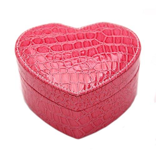 Étui cosmétique HWF Boîte à Bijoux Boîte de Rangement en Cuir en Forme de Coeur Organisateur (Couleur : D)
