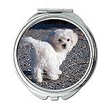 Spiegel, Compact Spiegel, Hund Maltese White Young Dog Welpen Small Sweet, Taschenspiegel, tragbarer Spiegel