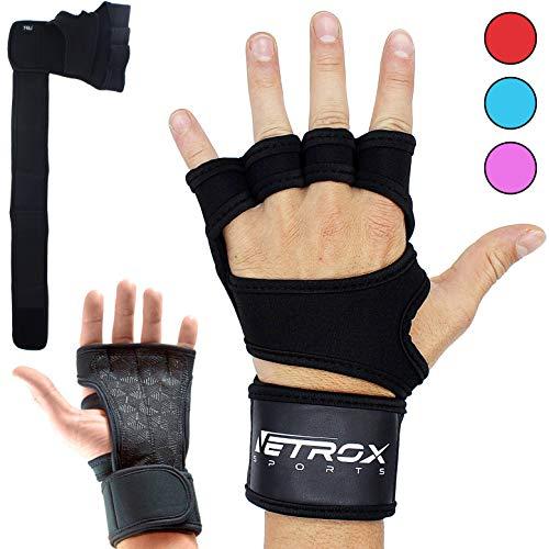 Crossfit Krafttraining Kraftsport Bodybuilding Fitnessstudio Studio Sport Gym Gloves für Mann Männer Herr Herren Dame Damen Frau Frauen Finger (Schwarz, S)